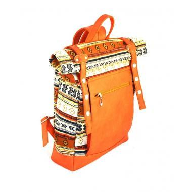 Сумка-рюкзак RollTop этно-рыжий