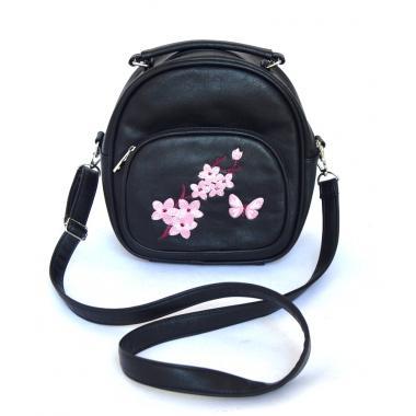 Сумка-рюкзак -трансформер женский Gatitio черный с вышивкой
