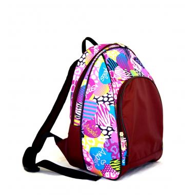 Сумка-рюкзак Bulto  бордовый оксфорд-сердца