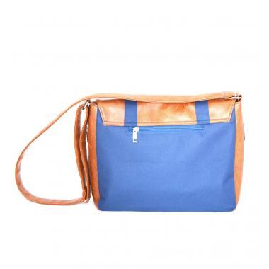 Сумка-портфель унисекс Cascada синий холст-рыже-коричневый