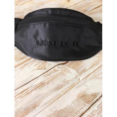 Сумка унисекс поясная  Avista черная с вышивкой